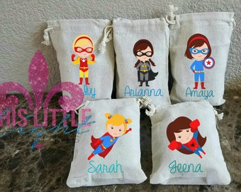 Party Favor Bags.  4 x 6 Party Bags. Superhero Themed Party. Super Girl Party Bags. Muslin Bags. Favor Bags. Candy Bags. Party Bags.