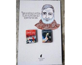 Ernest Hemingway's miniature book pins set