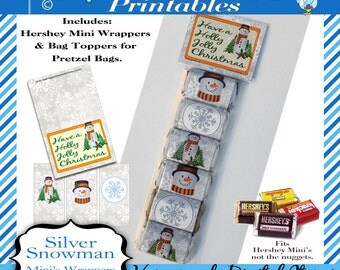 Hershey Mini's Candy Bar Wrapper, Christmas - Silver Snowman, Bag Tag, snowmen, for Mini bars not Nuggets