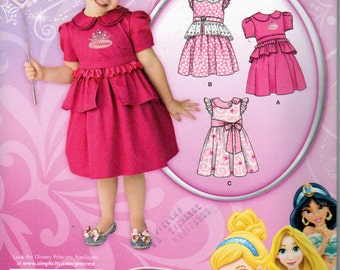 Simplicity 1671, Disney Princess, Toddlers Dress Pattern, Variations and Detachable Peplum, Full Gathered Skirt, Sizes 6 Months to 4 years
