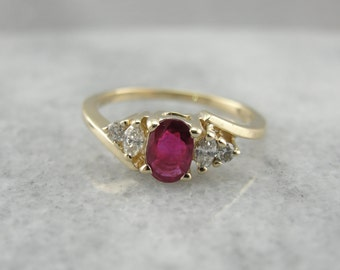 Ruby and Marquise Cut Diamond Ring for Any Occasion 7KY1HL-N