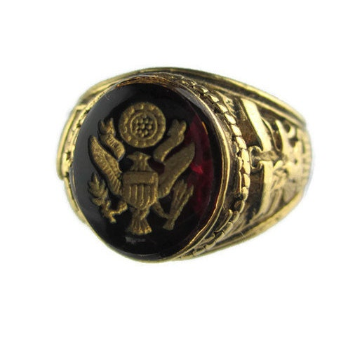 Vintage Us Army Insignia Military Signet Ring Size 14 Gold