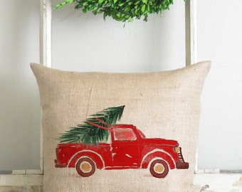 Burlap Collection_Red Truck  20 x 20 Pillow Cover // Watercolor // Christmas // Home Decor // Cushion // Throw Pillow // Gift // Present