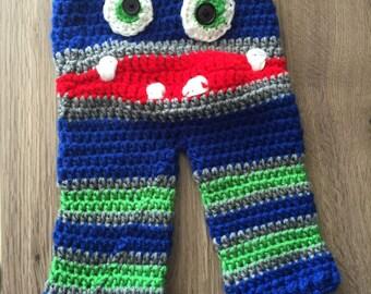 Crochet Baby Monster Pants - Blue/Green/Grey - Medium 3/6M