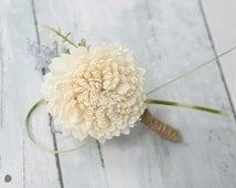 Sola Flowers Wedding Boutonniere  - Mum Sola Wedding Flower Boutonniere - Silk Flowers Corsage