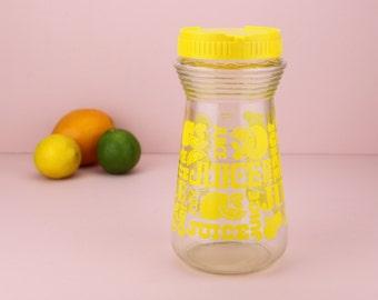 Vintage Glass Juice Jar Yellow Fruit