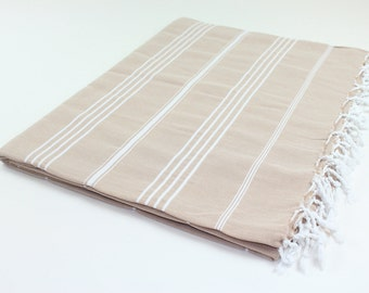 Beach Picnic Oversized Blanket, Beach Towel Blanket, Excellent Quality, 100% Turkish Cotton Dark Beige