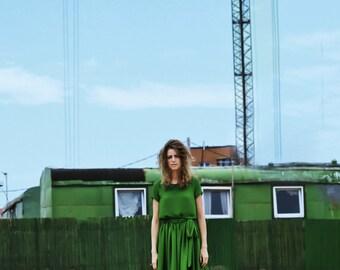 Short green chiffon dress