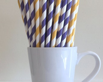 Yellow and Purple Paper Straws Purple and Golden Yellow Striped Party Supplies Party Decor Bar Cart Cake Pop Sticks Graduation Graduation