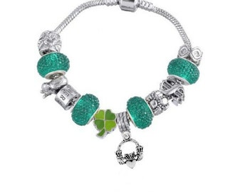 Claddagh Bracelet, St. Patrick's Day Bracelet, Irish Bracelet, Green St. Patrick's Day Bracelet, St. Patrick's Day Jewelry, Irish Jewelry