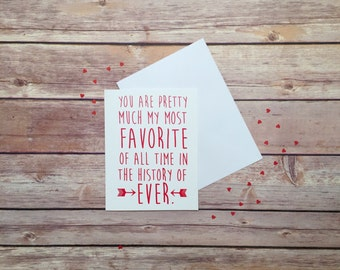 Love Card, You are Pretty Much My Favorite Card, Valentine's Day, Anniversary, Arrows, Red and Pink