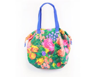 Vintage 80s Cotton Abstract Floral Print Duffle/Tote Bag
