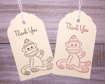 Sock Monkey Thank You Tags. Sock Monkey Favor Tags. Set of 6.