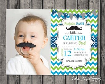 Mustache Bash Birthday Invitation Digital Download