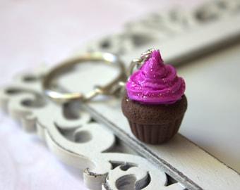 Cupcake keychain, miniature polymer clay cupcake, kawaii keychain, glitter dessert gift for her
