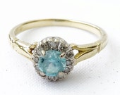 RESERVED for Shannon Vintage Ladies Aquamarine and Diamond Cluster Engagement Ring in 18ct Yellow Gold FREE POSTAGE
