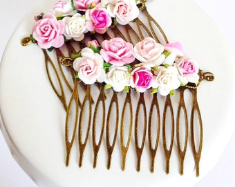 Fairy-tale Pastel Pink Rose & Toadstool Flower Hair Comb Set