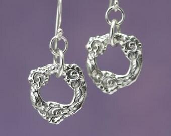 Sterling Silver Flower Dangle Earrings – Sterling Silver Dangle Earrings – Sterling Dangle Earrings – Flower Earrings Silver Flower Jewelry