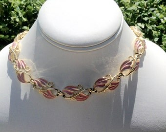 1950s Vintage Necklace Signed Coro Pink Enameled Leaves