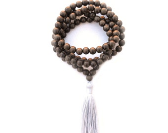 Meditation Beads, 108 Gray Mala Necklace, Gray Tassel Necklace, Silver Yoga Beads, Buddhist Meditation Beads, Yoga Prayer Beads - RELAX