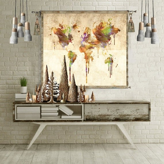 World map tapestry wall hanging world map canvas world map like this item gumiabroncs Gallery