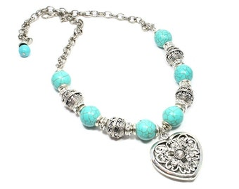 Turquoise Necklace with Silver Heart Pendant - Turquoise Jewelry - Turquoise Howlite - Beadwork Jewelry - Turquoise Beaded Necklace