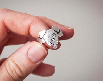 Dog ring, adjustable band ring in the shape of a cute doggy, gift ideas for animal lovers, dog face, animal rings, pets, dogs, dog lover