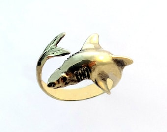 Shark Ring, Brass Ring, Nautical Ring, Nautical Shark Jewelry, Nautical Jewelry, Animal Ring, Animal, Best Gift Idea, Unisex Ring