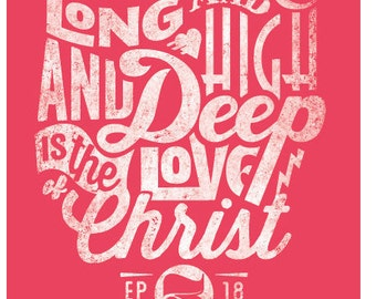 Scripture Art Print, Christian Wall Decor - Hand Lettered, Ephesians, 11x17