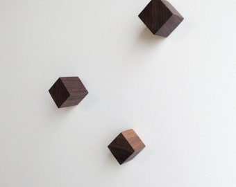 Square Wall Knobs - Large - Set of Three - WALNUT, Simple, Modern