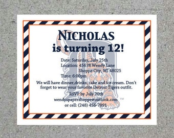 Detroit Tigers Personalized Birthday Party Invitation Customizable Cards Opening Day Invitation