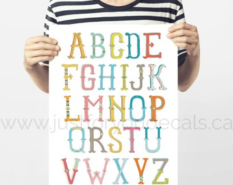 Alphabet Poster - Nursery Wall Art - Playroom Poster - Alphabet Wall Art - Alphabet Nursery Art - Alphabet Nursery - Nursery Art - 22-0016
