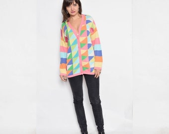 Vintage 90's Color Block Button Sweater / Colorful Knit Cardigan - Size Small