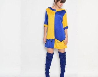 Vintage 80's Color Blocking Sweater Dress