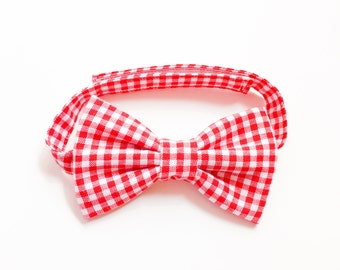 baby boy bow tie with velcro gingham check red-toddler bowties-baby boy bowtie-baby shower gift-bowties-toddler boy bowties-Love Factory NY