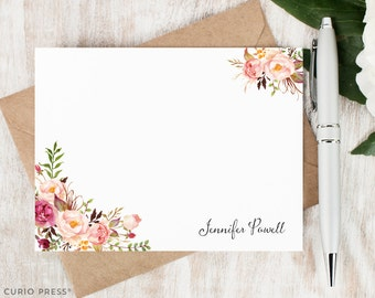 Personalized Notecard Set / Flat Personalized Stationery / Stationary Note Card Set / Tribal Watercolor Flower // PAINTED FLORALS I