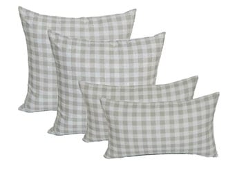 Set of 4 Square & Rectangle / Lumbar - Indoor Cotton Gray Grey Plaid Country Checkered / Checkerboard Decorative Throw Pillows - Choose Size