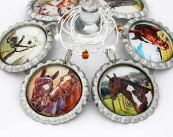Horse wine charms vintage equine equestrian drink tags rustic party favors.