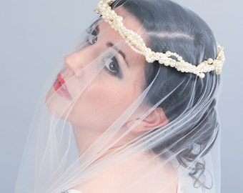 Faux pearl and Swarovski bridal circlet