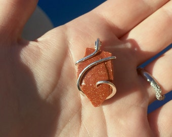 Goldstone in forged sterling silver