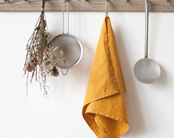 Mustard Stone Washed Linen Tea Towel