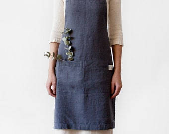 Dark Grey Stone Washed Linen Apron