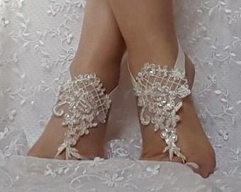 ivory lace silver frame sequin  flake lace barefoot sandal beach wedding barefoot sandal bridal barefoot sandals