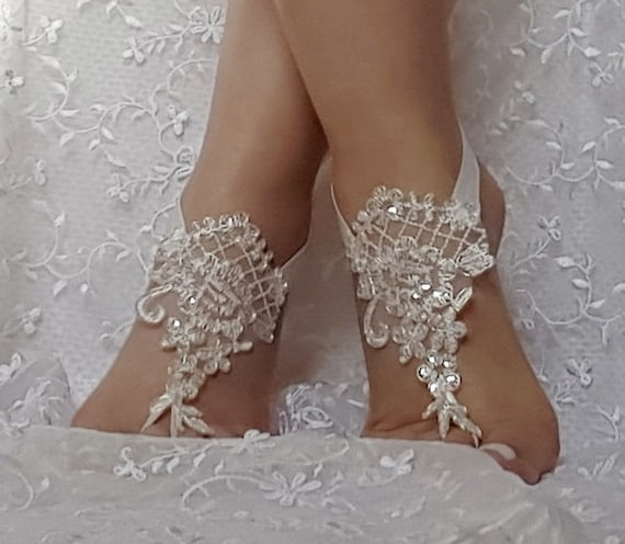 ivory lace silver frame sequin  flake lace barefoot sandal beach wedding barefoot sandal bridal barefoot sandals