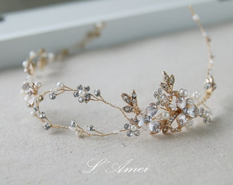 Golden Goddess Wedding Crown Circlet Wreath with Golden Leaves and small flowers