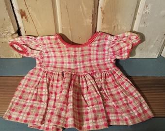 Pink Gingham Doll Dress - old & vintage