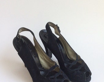50s Christensens Cross Over Peep Toe Heels / 1950s Vintage Black Cut Out Slingback Pumps / Size 5.5 - 6