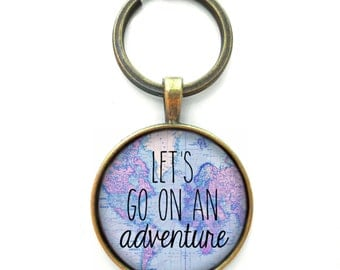 Globe keychain etsy lets go on an adventure globe keychain gag gift accessories wanderlust world map keychain sciox Images