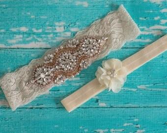Beaded Garter Set Rose Gold Ivory Lace Bridal Wedding