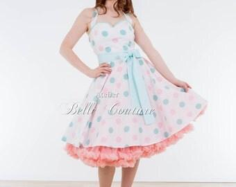 Custom Made & Handmade - 1950s custom made petticoat dress Pastell Dots I